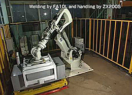 Two applications are shown in this video. The first uses a Kawasaki F series robot on a 7th axis rail to weld large snow removal augers. Touch sensing and seam tracking are utilized. The second application features a Kawasaki ZX300 robot manipulating large enclosures in front of a Kawasaki arc welding robot. Vision is used to locate the enclosure and offset the program path.